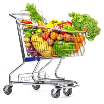 grocery cart with veggies