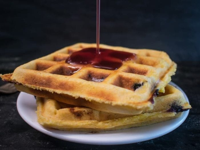 low sodium blueberry cornbread waffles